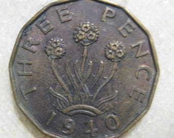 1940 United Kingdom, Three Pence Coin, Portrait of George VI, Three headed 'Thrift' Plant
