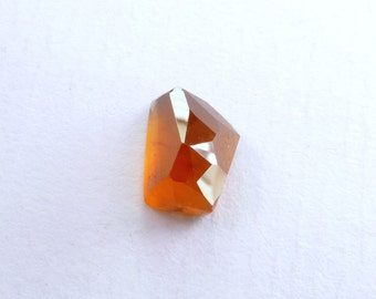 Orange Garnet Hessonite  Faceted Cabochon. Natural Gemstone. Geometric Tavernier Cut Rock Candy Gem Cab. 1 pc. 4.02 cts. 10x7 mm (GA949)
