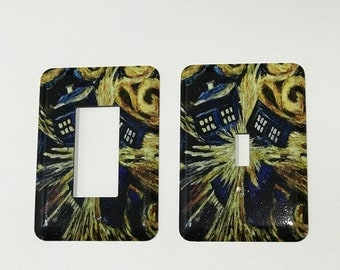Van Gogh Painting TARDIS Light Switch Plate - Doctor Who Light Switch Cover - Whovian  Decor