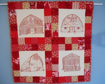 Redwork hand-quilted barn quilt wallhanging
