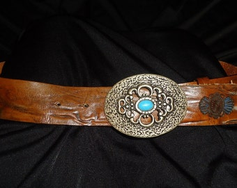 Guido Angeloni Stamped Leather Vintage 1980's Men's BOHO Western Belt L