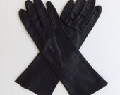 Vintage 60's Gloves Women's Black Kid Leather Mid Length by Aris of Paris Machine Washable Size 6.5