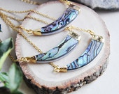 Horn Necklace, Shell Necklace, Abalone Shell Necklace, Rainbow Abalone Necklace, Layering Necklace, Ocean Necklace, Beach Wedding, Shell