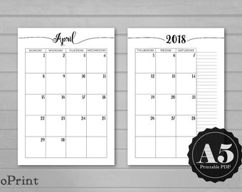 Monthly Calendar Planner Inserts - Calligraphic Script - A5 Printable Planner - Dated Month on Two Pages 2017 and 2018 - Mo2P - 24 months