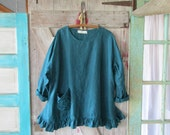 RESERVED FOR M E linen tunic with flower pocket in teal turquoise blue green ready to ship