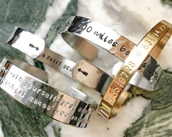 Custom Stamped Metal Bracelet Personalized Hand Stamped Bracelet Custom Cuff Name Mantra Arrows Coordinates Inspirational Motivational