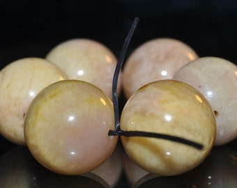 6 Pieces 14mm Graceful~Luscious Natural YELLOW MOONSTONE Large Round Beads - G1069