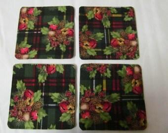 Set Of 4 Fabric Coasters/Christmas Plaid