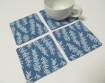 Set Of 4 Fabric Coasters/Seaweed