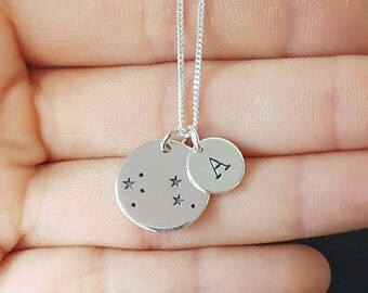Sterling Silver Leo Necklace, Personalized Jewelry, Initial Zodiac Necklace, Constellation Necklace, Mother's Gift, Birthday Gift