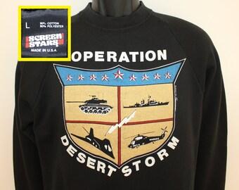 Operation Desert Storm shield vintage sweatshirt Small black 90s 1990 crew neck long sleeved