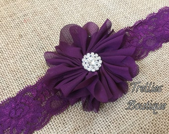 Plum Lace Headband- Dark Purple Lace Headband- Flower Girl Headband