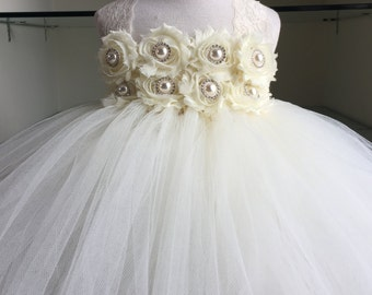 Ivory Shabby Chiffon Satin Lace Tutu Dress- Rhinestone and Pearl Tutu Dress- Flower Girl Dress- Shabby Flower Tutu Dress