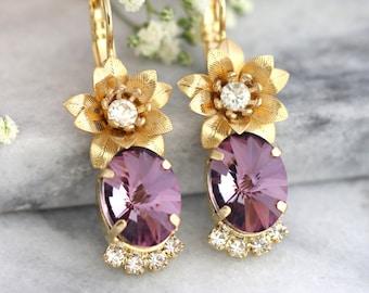 Antique Pink Earrings, Bohemian Earrings, Purple Earrings, Swarovski Earrings, Bridesmaids Earrings, Flower Earrings, Bridal Drop Earrings
