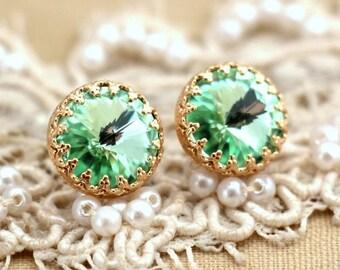 Clear Mint green seafoam Crystal Gold stud  earring brides maids earrings - 14 k Gold filled stud earrings real swarovski rhinestones .