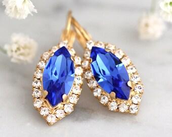 Sapphire Earrings, Blue Bridal Earrings, Swarovski Drop Earrings, Bridal Cobalt Drop Earrings, Blue Navy Earrings, Bridesmaids Earrings