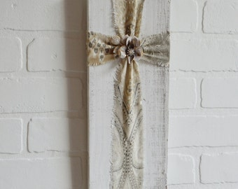 Shabby Wood Cross, Shabby Cross, Shabby Fabric Cross, Fabric and Wood Cross, Religious Wall Decor, Vintage Cross, Wall Cross