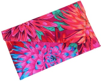 Envelope Fold Over Clutch Purse Wedding Clutch Bridesmaid Gift - Pink Orange Blue Flowers