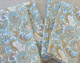 cloth dinner napkins-paisley in blues, browns, & cream