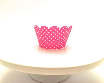 12 Scalloped Pink Polka Dot Cupcake Wrappers