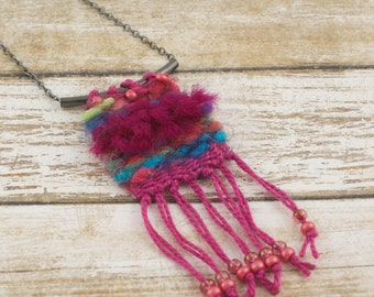 """Mini Tapestry Necklace, Woven Necklace, Pendant Necklace, Boho Jewelry 18"""" metal chain option, Free Gift Box, Valentine"""
