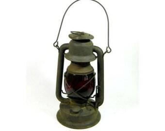 Antique Dietz Little Wizard Embury Mfg Railroad Lantern Red Glass