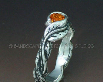 Delicate Leaves WITH A TWIST -  This Twig ring made to order in sterling silver and a choice of many stones