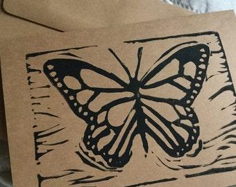 Butterfly Handstamped Linocut Card