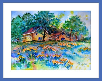 Original Painting of Country Home Cabin in Field of Wild Flowers by Watercolor Artist Martha Kisling