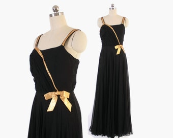 Vintage 50s Evening GOWN / 1950s Black Silk Chiffon Rappi Grecian Long Dress with Metallic Gold Bow S
