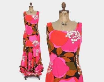 Vintage 60s HAWAIIAN DRESS / 1960s Bright Pink Cotton Mermaid Ruffle Hem Maxi Sun Dress M