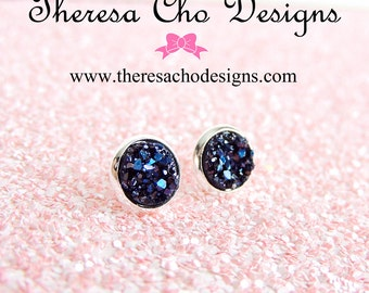 Small Midnight Blue Faux Druzy Studs in Silver, Dark Blue Druzy Studs, Faux Blue Druzy Studs, Small Druzy Studs, 8mm Faux Druzy Studs