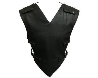 Leather V Design Vest with Leather Straps Custom Fit Adjustable Interchangeable