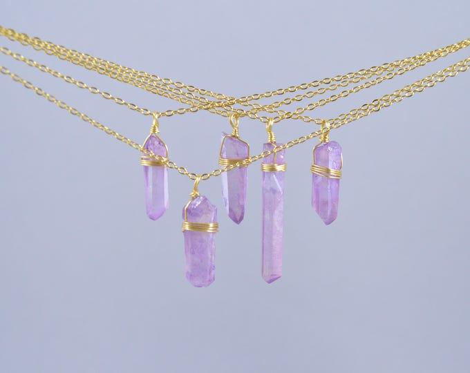 Quartz Crystal Necklace, Quartz Crystal, Aura Quartz, Crystal Quartz, Titanium Crystal, Rainbow , Pastel Quartz Necklace, Raw Quartz Crystal