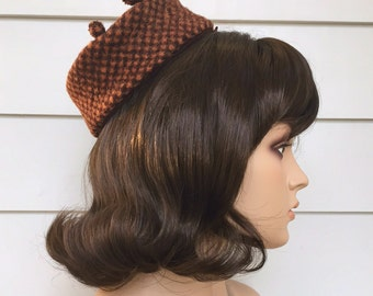 1960s Pillbox Hat Brown & Caramel Checked