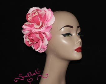 Double Pink Rose Hair Flower Side Comb / Pinup / Wedding Hair Accessory