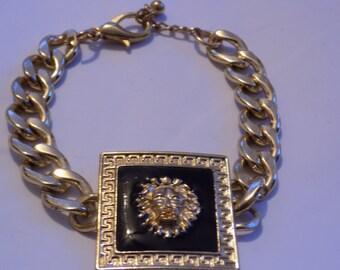 Vintage bracelet, lion bracelet, chunky bracelet,link bracelet, 8 inch bracelet,statement bracelet,jewelry