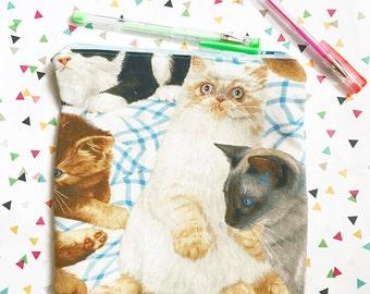 Cat lady zipper clutch pouch cosmetic or pencil bag