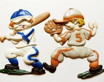2 Baseball Player Wall Hangings, Sexton Batter & Pitcher, Vintage 60's Metal Plaque