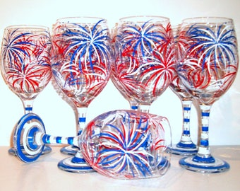 July 4th Fireworks Red White & Blue Set of 8 - 21 oz Hand Painted Wine Glasses Wedding Bridesmaids Bachelorette Party Mother of Bride