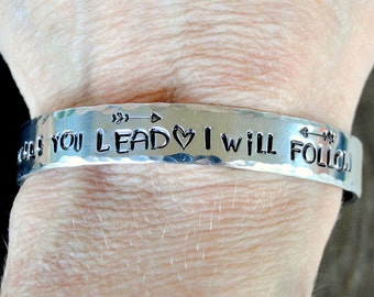 Where You Lead I Will Follow - The Gilmore Girls - Mother Daughter - Sisters Gift - Best Friend Gift -Hand Stamped Jewelry-