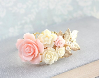 Blush Pink Rose Cuff Bracelet Bridal Jewelry Bridesmaid Gift Romantic Vintage Style Gold Branch Cream Floral Collage Gold Brass Filigree