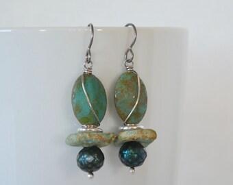 Crusty Green Earrings, Teal Pearls, Green Shabby Earrings, Grungy Glass Earrings with Sterling Silver Accents, Hypoallergenic Art Earrings
