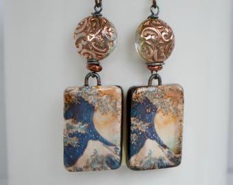 Ocean Earrings, Great Wave Earrings, Hokusai Earrings, Japanese Art Earrings, Blue Wave Earrings, Ceramic Art Bead and Glass Earrings
