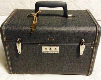 Vintage 1950s SAMSONITE Train Case Gray Tweed Travel Makeup Cosmetic Luggage Carry On Storage Case