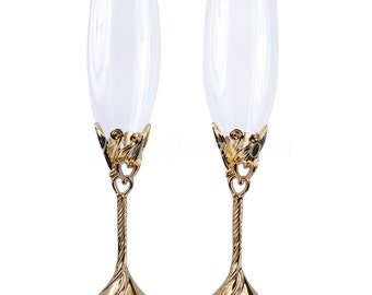 Hearts Wedding Toasting Flutes/Champagne Glasses in Gold