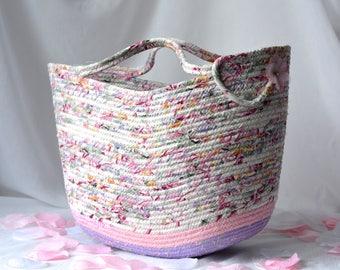 Shabby Chic Tote Bag, Handmade Moses Basket, Lovely Pink Storage Organizer, Pink Beach Bag, Picnic Basket, Gift Basket