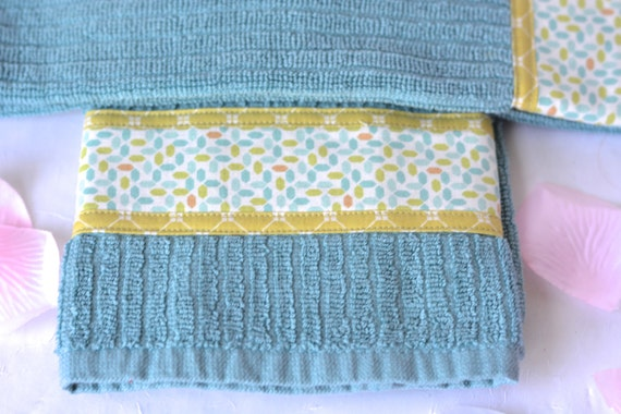 Spring Kitchen Towels, Set of Two Aqua Cotton Kitchen Towels, Hand Decorated, Lovely Blue Turquoise 100% Cotton Towels