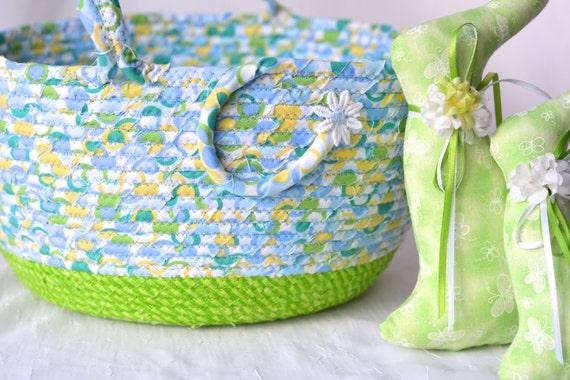 SALe.... Boy Easter Basket, Handmade Blue and Green Easter Bucket, Easter Egg Hunt, Baby First Easter Basket, Decoration