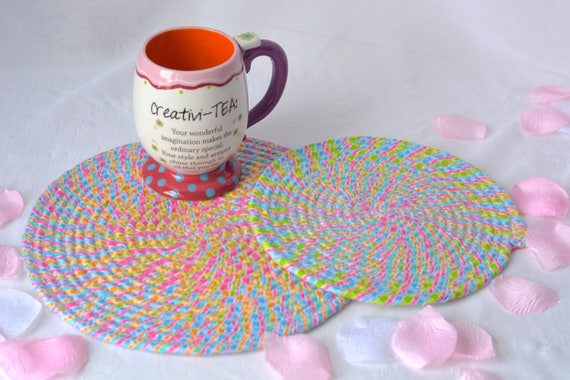 "Candy Land Trivets, 2 Handmade Hot Pads, Lovely Table Mats, Pink Potholders, 8"" and 10"" Place Mats, Mother's Day Decoration"